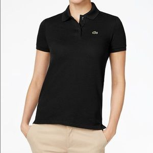 Lacoste women's black slim fit polo